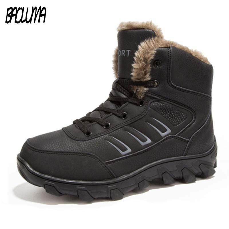 Genuine Leather Men Winter Boots Combat Ankle Boots Work Breathable Durable Men Army Forces Rubber Mid calf High Top Boots Shoes