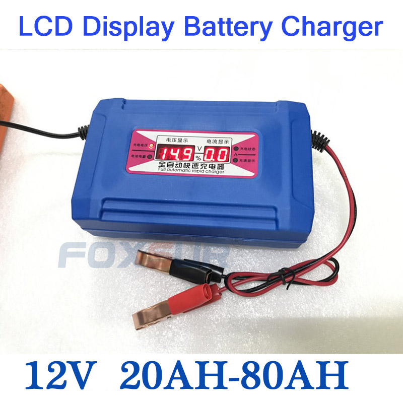 NEW Automatic Smart 12V 20-80AH Lead Acid/GEL Car Battery Charger LCD Display US EU Plug Smart Fast Battery Charger new 220v input 30a 12v car battery charger motorcycle charger 12v lead acid charger eu plug wholesale