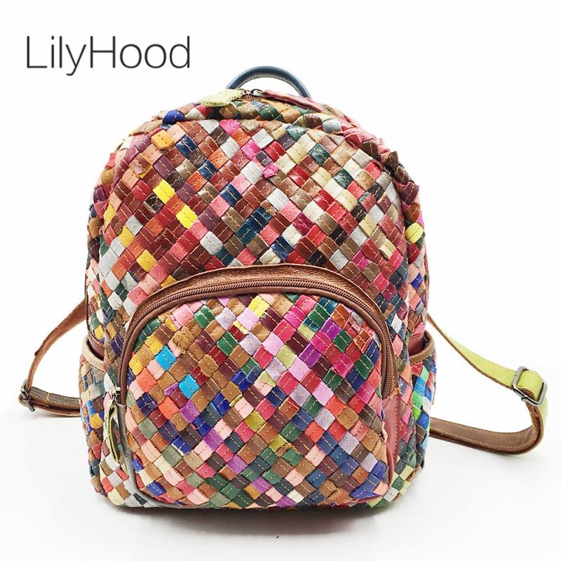 LilyHood Genuine Leather Mini Backpack Female Fashion Casual Elegant Sheepskin Feminine Colorful Patchwork Small Cute Backpack