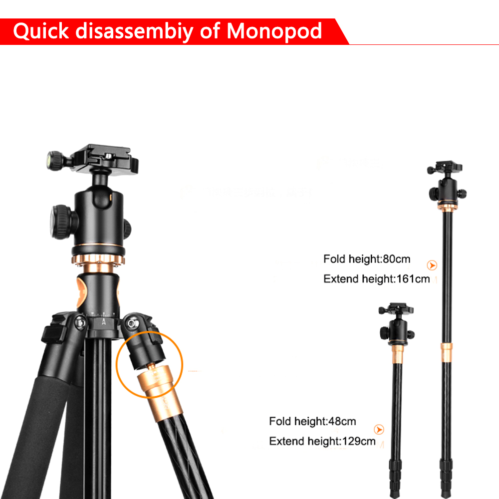 Image 5 - SAMTIAN Professional Portable Camera Tripod 61 inch Portable Travel Trip System Horizontal Tripod for Canon Nikon Sony DSLR SLR-in Tripods from Consumer Electronics