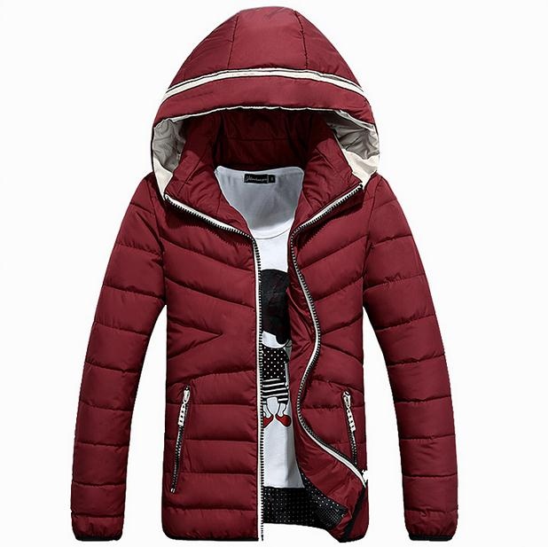 ФОТО 2017 New Fashion Casual Winter Jacket Men Hooded Solid Warm Mens Winter Jacket Coat 3 Colors (asian Size)