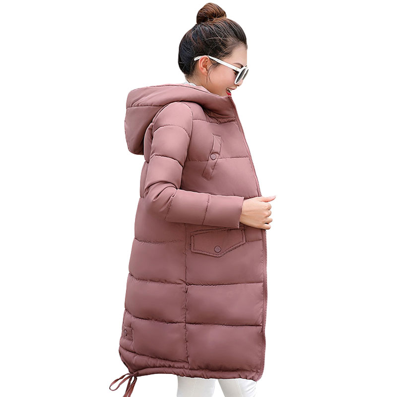 2018 New Fashion Winter Jacket Women Hooded Coat Slim Down Cotton Padded Jacket Coat Female Thick Long Down   Parkas   Outwear