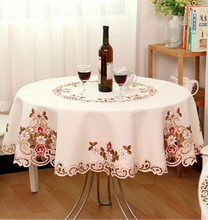 &337 220cm/86inch European garden round table cloth hotel embroidery tablecloth voile ornament mat  220