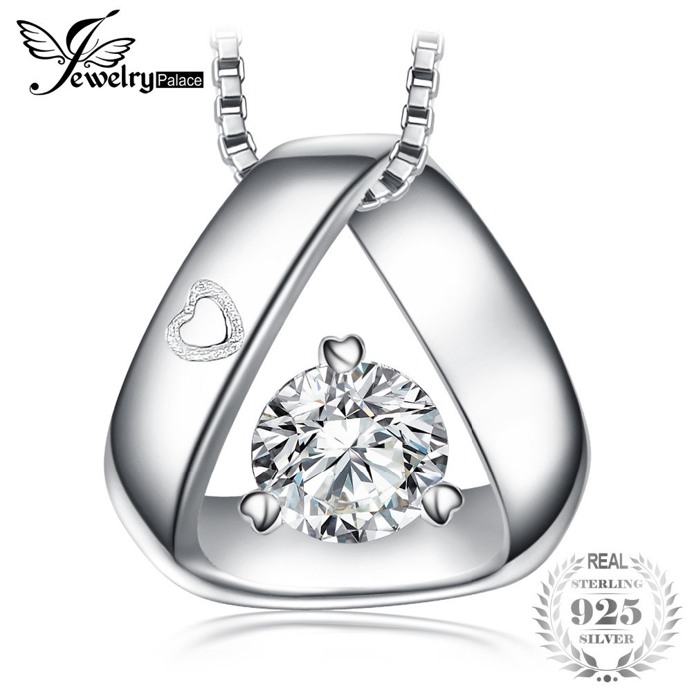 JewelryPalace 925 Sterling Silver Triangle Engraved Heart 0.3ct Cubic Zirconia Pendant Necklace 45 cm Box Chain Gift For Her