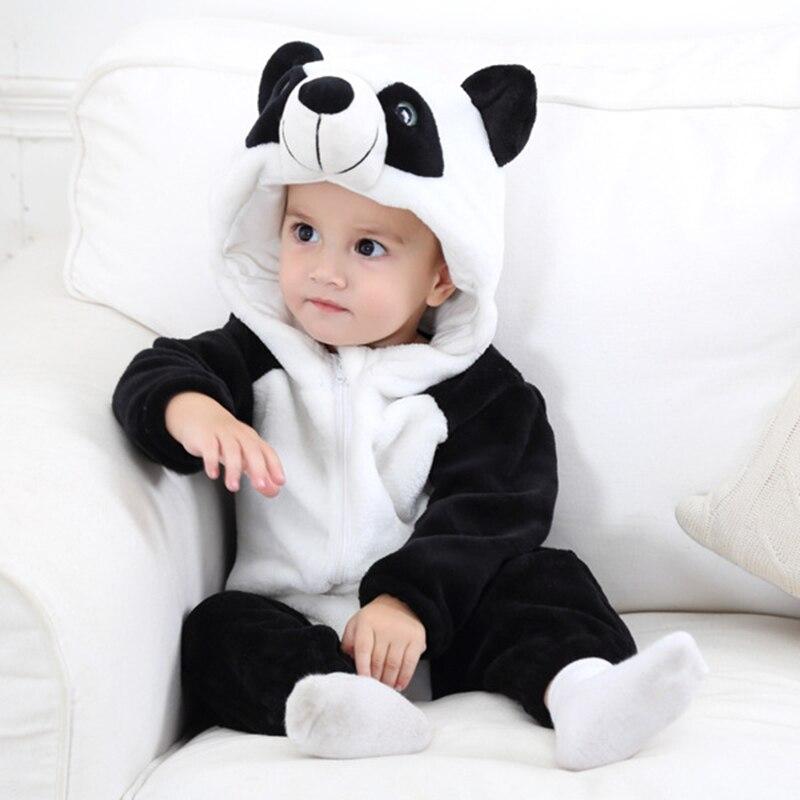 Baby Spring Flannel Clothes Cartoon Animal Panda Rompers 6m-24m Boys Autumn Climbing Newborn Baby Warm Pajamas Girls Outwerar