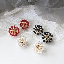 Korean Simple Pearl INS Flower Dandelion Woman Girls Stud Earrings Fashion Jewelry Holiday-KQQE