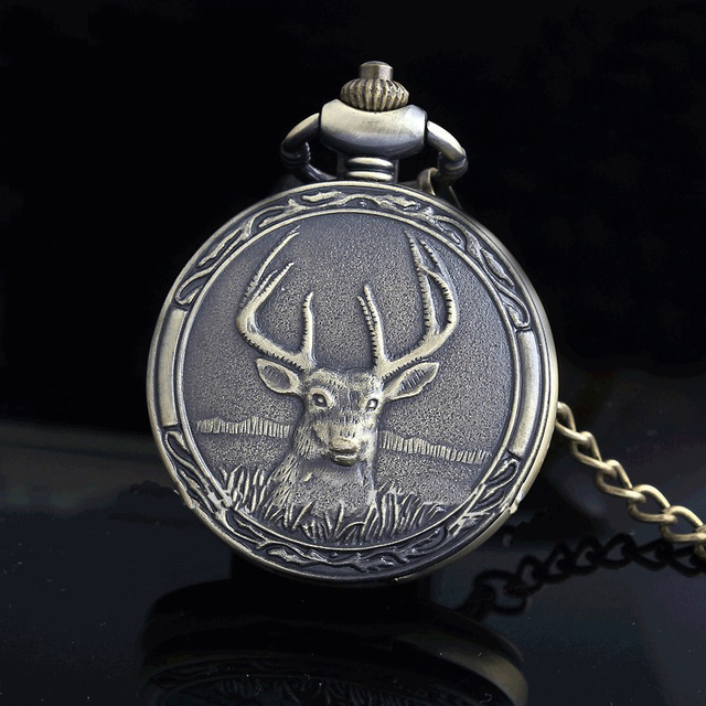 New Fashion Vintage Lovely Deer Roman Numbers Quartz Pocket Watches Pendant Neck