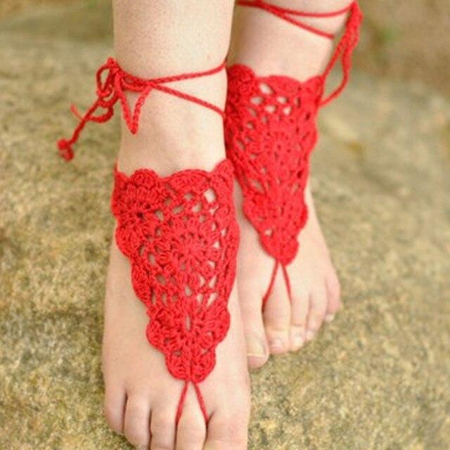 Barfuß Sandalen Häkeln Coral Red Strand Hochzeit Nude Schuhe