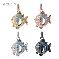 Hollow Zircon Cute Tropical Fish Locket Pendant For Woman Girls High Quality Copper Essential Oil Diffuser