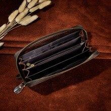 Men  leather Fashion Card Holder Checkbook Zipper Around Organizer Chain Wallet Purse Design Clutch Handbag