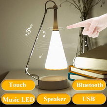USB Gadgets Touch Led Night Light Mini Bluetooth Speaker Music Desk Lamp Gift Portable Wireless Rechargeable Speaker(China)