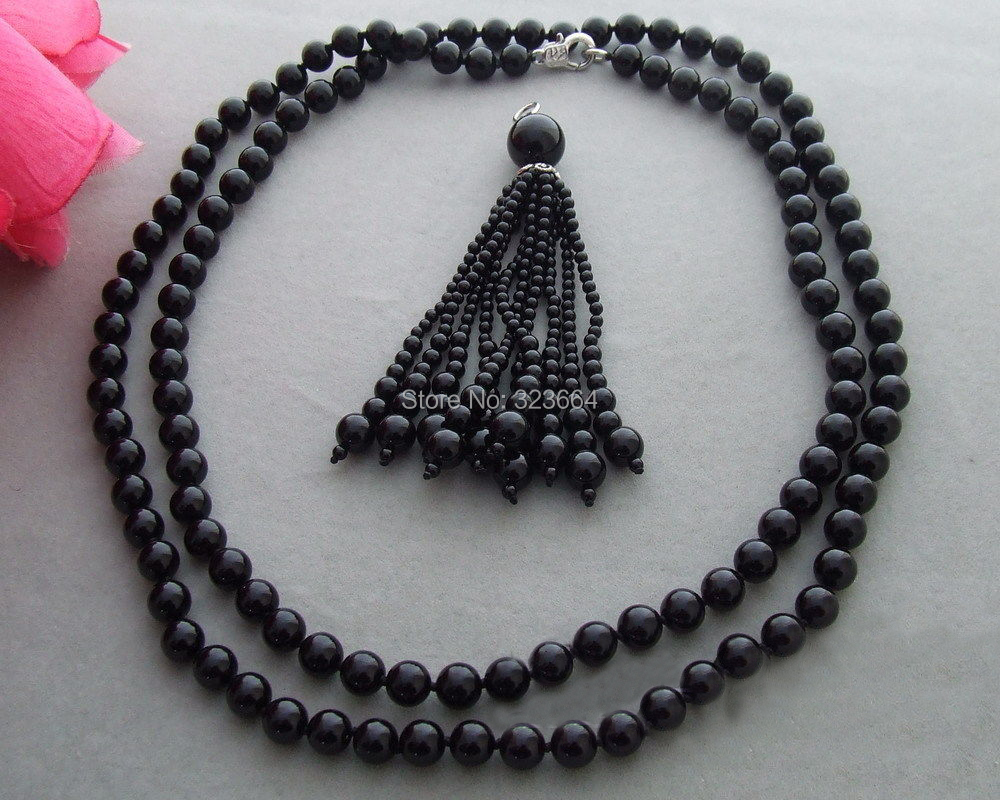 Красивые! Круглый ожерелье из черных бусин