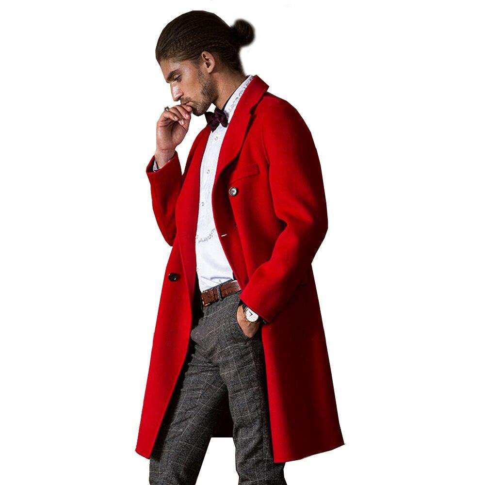 Automne Outwear Cachemire Double Formelle Tranchée Réel Veste Hiver Gris Hommes Rouge Couleur Mâle Longue Manteau Face Véritable Laine Style pUzMqVS