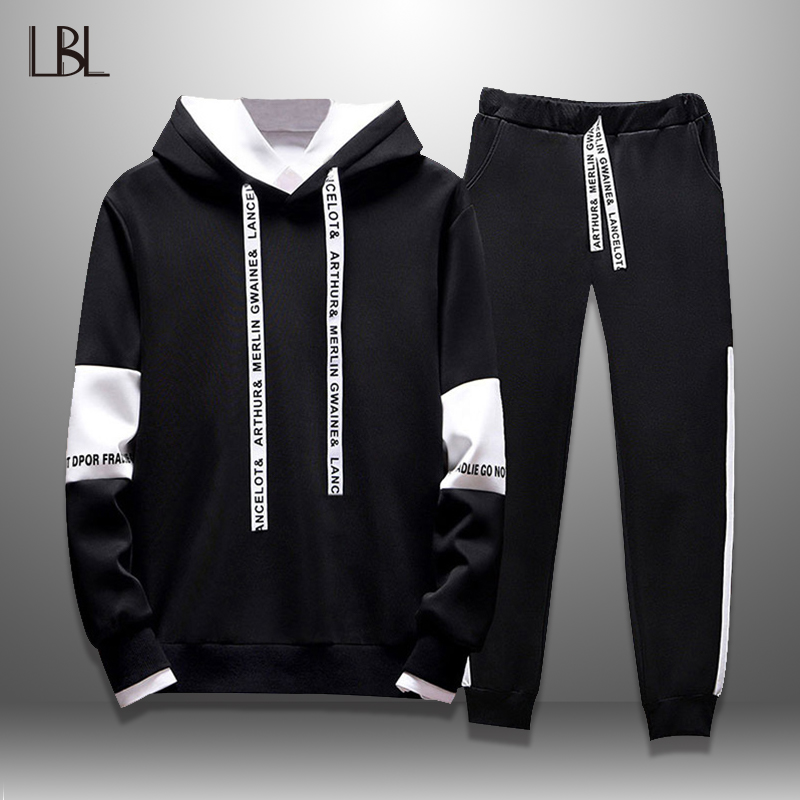 LBL Casual Tracksuit Men Spring Autumn Hoodie Set Men's Sportswear Letter Printed Sweat Suit Man Two Piece Mens Fitness Clothing