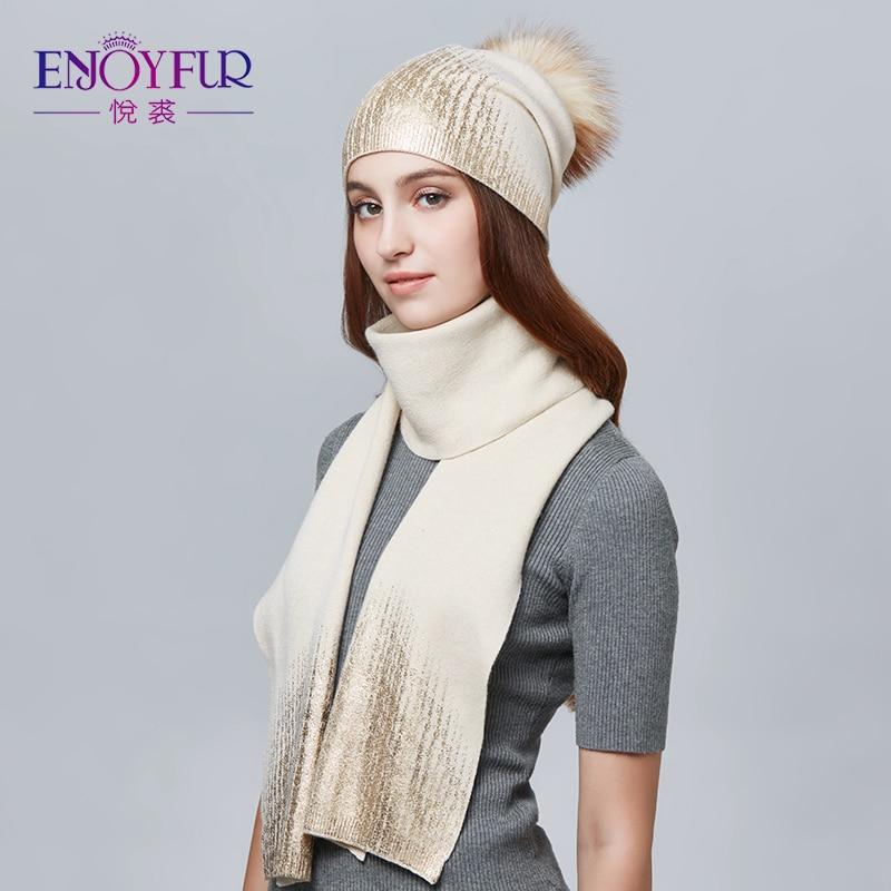 ENJOYFUR Women Winter Hat And Scarf Set Fashion Cashmere ...