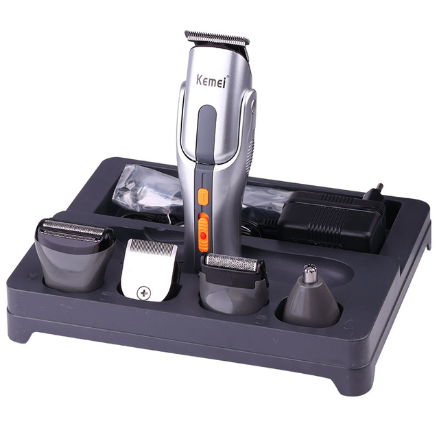 Kemei Professional Hair Clipper 6 In 1 Hair Trimmer Shaver Sets Electric Titanium Shaver Beard Clipper Hair Cutting Machine