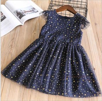 YP320391 2018 New Baby Girls Dress Print Stars Fashion Girls Princess Dress Sleeveless Appliques Mesh Baby Dress Girls Clothes