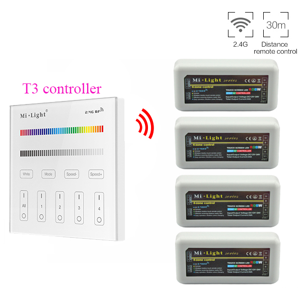 Mi.light RF T3 Touch Panel Remote AC110/220V+2.4G 4-Zone RGB/RGBW Led Controller For RGB/RGBW Led Strip DC12-24V цена