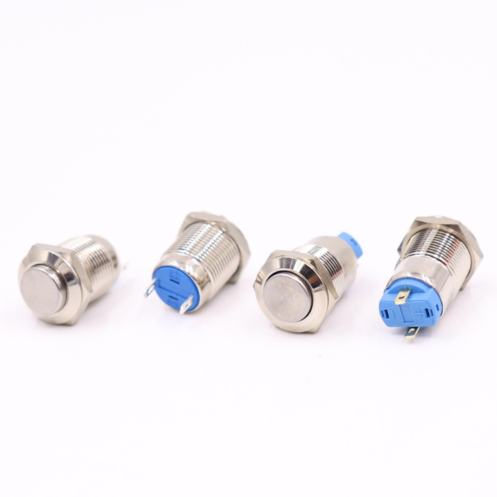 12mm metal push button waterproof nickel plated brass switch high head Round shape momentary self reset 1NO in Switches from Lights Lighting