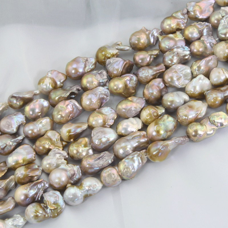 1 Strand Natural Gold Pearl Beads Strands 15-25MM Wedding Edison Pearl Beads AAA Baroque Pearls DIY Jewelry Material 16 inches 30 40mm aaa natural lavender fireball baroque pearl loose strand