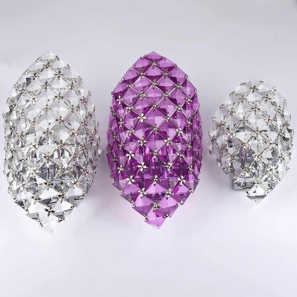 Художественная нержавеющая сталь современный светодиодный хрустальный настенный светильник Домашнее освещение Настенный бра Lampara Pared Arandela прозрачный/фиолетовый/янтарный