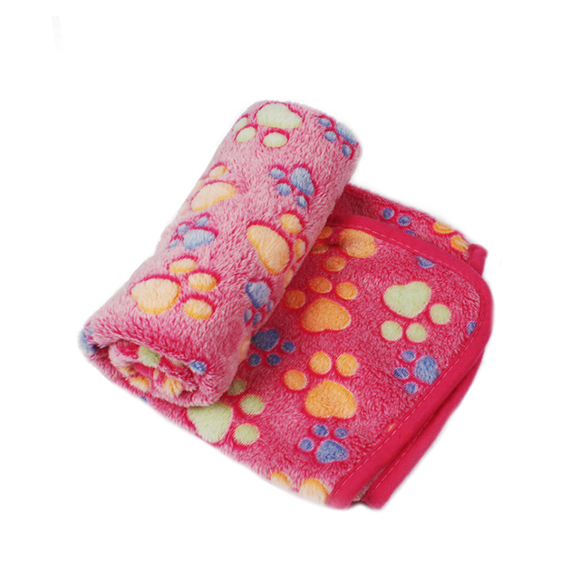 Pet Soft Pet Blanket Winter Dog Cat Bed Mat Foot Print Warm Sleeping Mattress Small Medium Dogs Cats Coral Fleece Pet Supplies 5