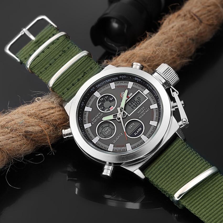 Image 3 - GOLDENHOUR Sport Men Wristwatch Fashion Men Quartz Watch Nylon Strap Week Display Army Military LED Clock Relogio Masculino-in Quartz Watches from Watches