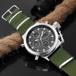 Image 3 - GOLDENHOUR Sport Men Wristwatch Fashion Men Quartz Watch Nylon Strap Week Display Army Military LED Clock Relogio Masculino