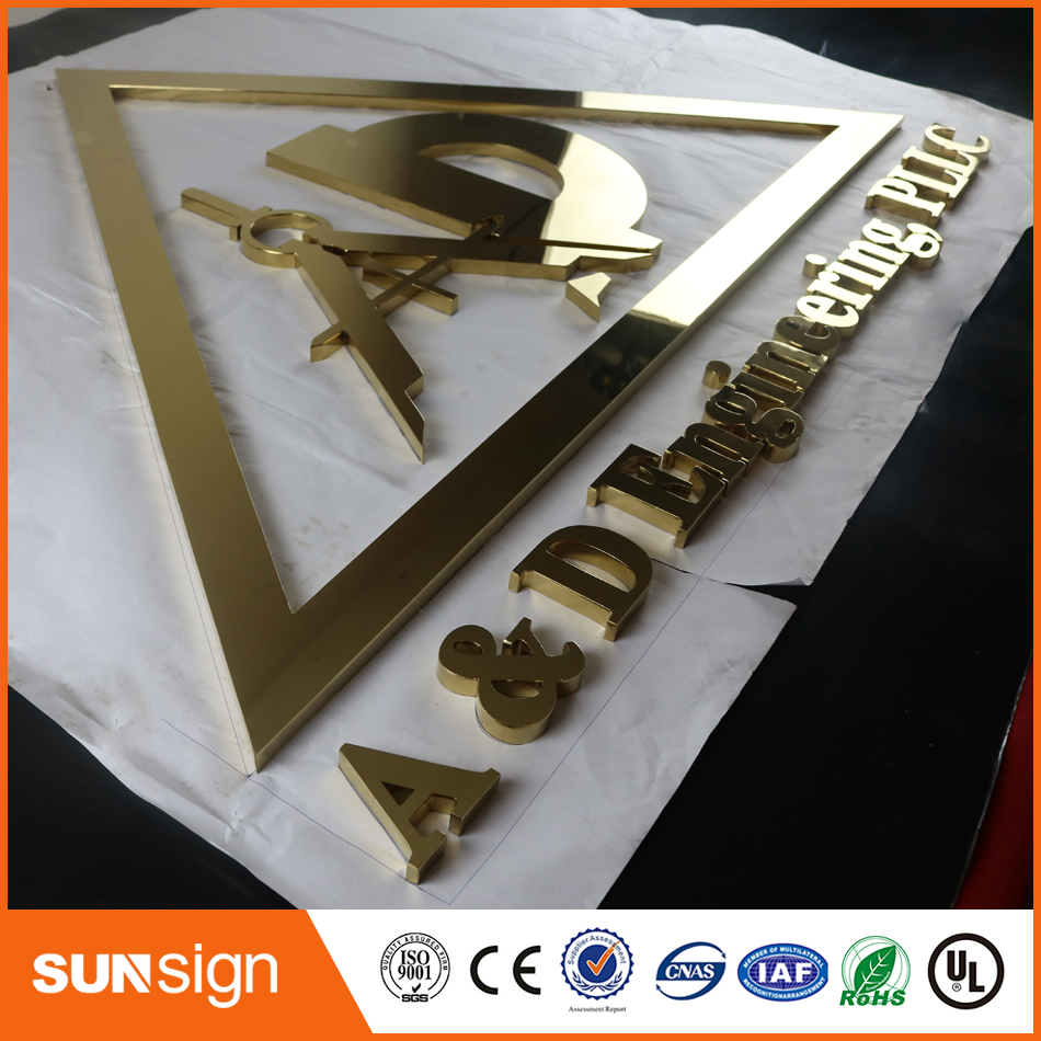 Indoormirror Polished Gold Color Stainless Steel Channel Letter Signage