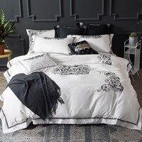 Чистый цвет Европейский 60 дань сатин хлопок 4 компл.. Вышивка Американский постельные принадлежности набор пододеяльников для пуховых одея