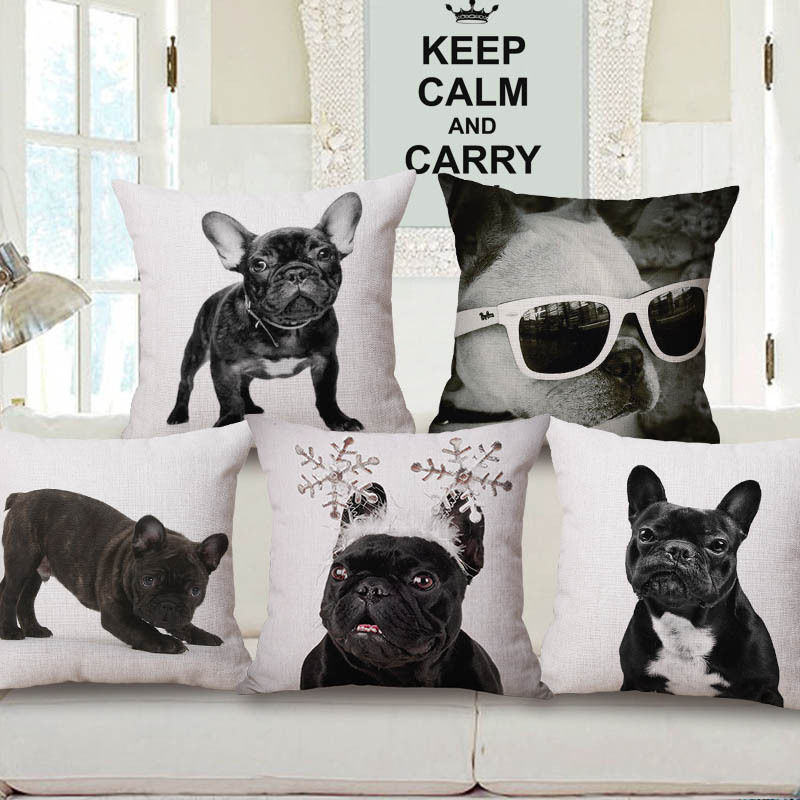 Bulldog Cushion Cover Pet Dog Pillow Covers Cotton Linen Car Bed Pillow Case for Home Decoration Pillowcase