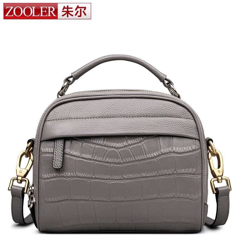 ZOOLER Real Cow Leather Women Messenger Bag Lady Cute Handbag Girls Shoulder Bag bolsas Gray Pink Crocodile Small Shell Bag Sac yuanyu new 2017 new hot free shipping crocodile women handbag single shoulder bag thailand crocodile leather bag shell package