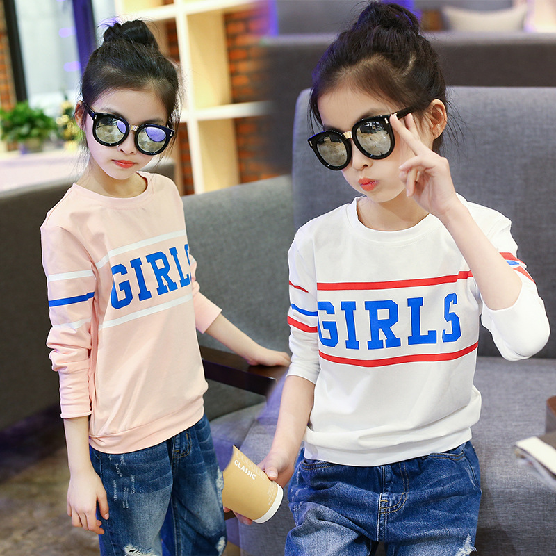 New 2018 Spring Round Neck Teenage Girl Letters T-shirts Long Sleeve Clothes Kids Pink White Tops Sweatshirts for 8 10 12 years цена 2017