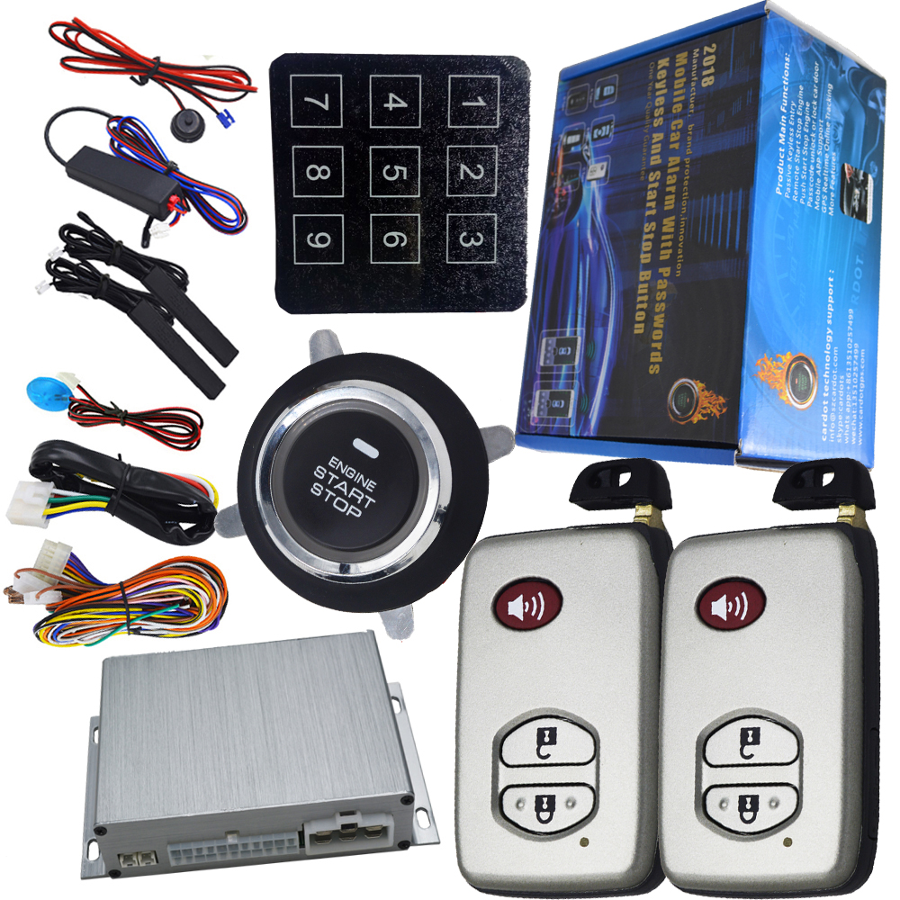 car smart key keyless entry ignition button start stop engine auto central lock or unlock car door car gps output alarm system car auto engine start stop button smart key alarm security keyless entry lock or unlock by passwords pke auto central lock car