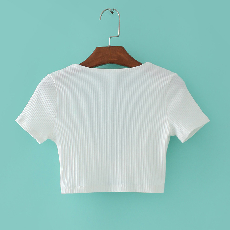 a572e76463341d Women Deep V neck Ribbed Cropped Tops with A Self Tie Ribbon Front Sexy Knot  FrontShort Sleeve Ribbed Crop T shirts-in T-Shirts from Women s Clothing on  ...