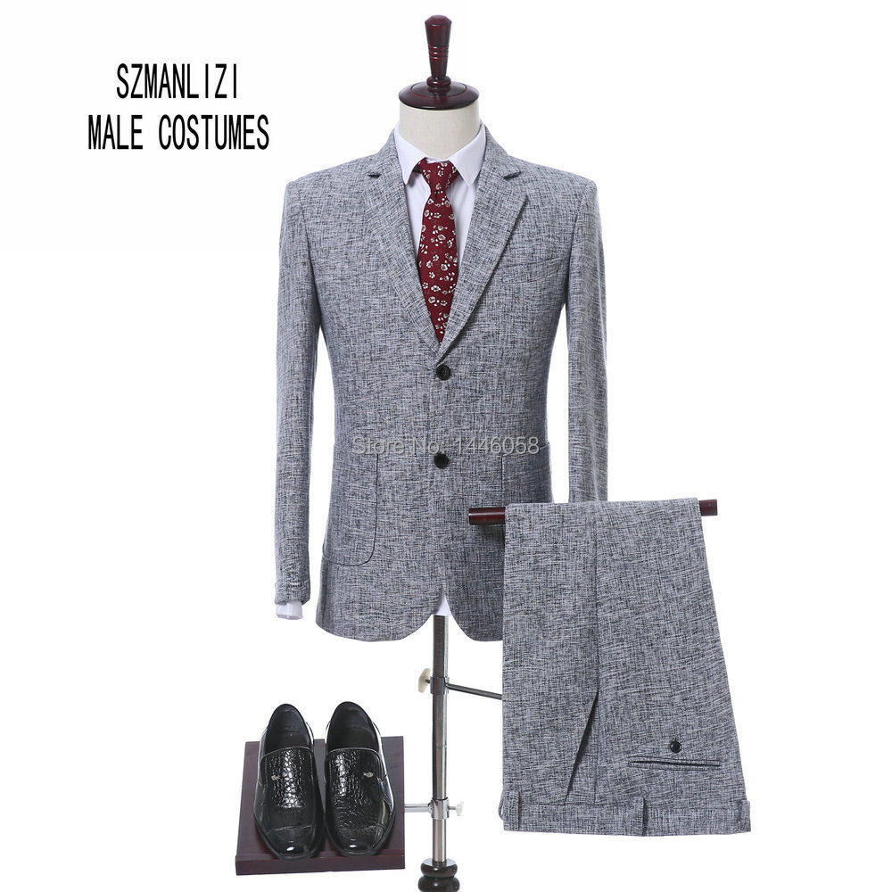 Costume Homme Terno Masculino Light Grey Tuxedos Slim Fit Men Business Suits Latest Design Wedding Suits For Men (Jacket+Pant)