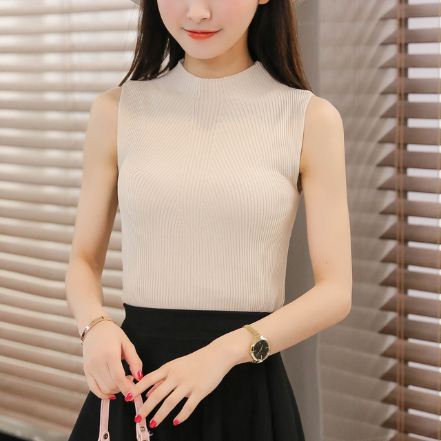 OHCLOTHING 2018 Women sweater The Korean version of the new spring summer half knitted vest slim sleeveless blouse shirt sling