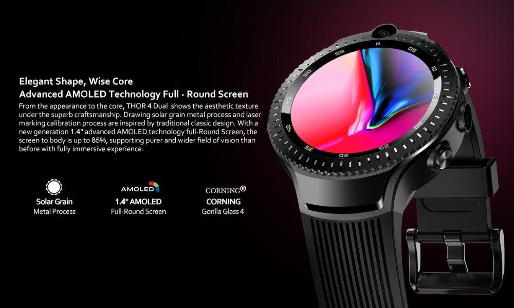 Zeblaze THOR 4 Dual 5.0MP Camera Smart Watch 4G GPS GLONASS Wifi Smartwatches 1GB RAM+16GB ROM Mic Speaker Answer Dial Call 2019 (3)