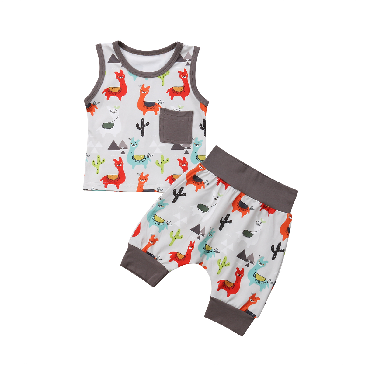2PCS Causal Baby Girl Boy Summer Hot Sale Clothes Sleeveless Cute Animal Pattern Vest+Fashion Harem Pants Outfit