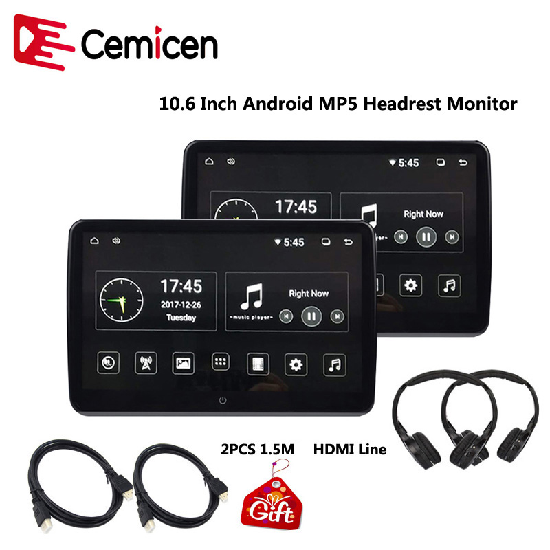 Cemicen 10 6 Inch Android 6 0 Car Headrest Monitor 1920 1080 HD 1080P Video IPS
