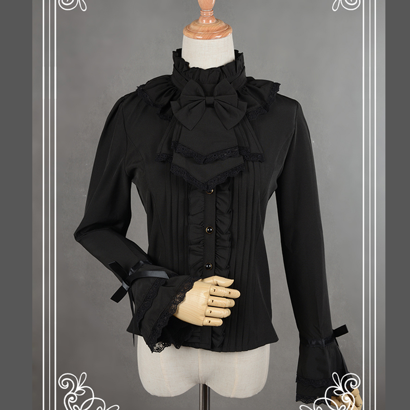 თეთრი / შავი Chiffon Blouse Slim იარაღი - ქალის ტანსაცმელი - ფოტო 3