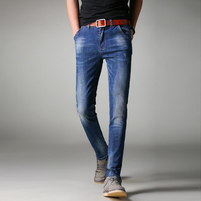 2018 Jeans Degli Uomini Business Casual Slim Fit Blue Jeans Stretch Denim Pantaloni Classici Cowboys Giovane Uomo Vendita Calda