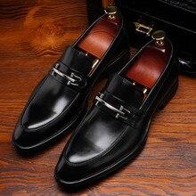 Novo preto do dedo do pé Apontado loafers sapatos de casamento dos homens sapatos de couro genuíno dos homens sapatos de negócios do escritório com fivela