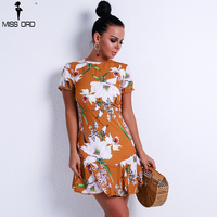 Missord 2018 Women Sexy O Neck Short Sleeve Print Dresses Female Cross Backless Elegant Mini Dress