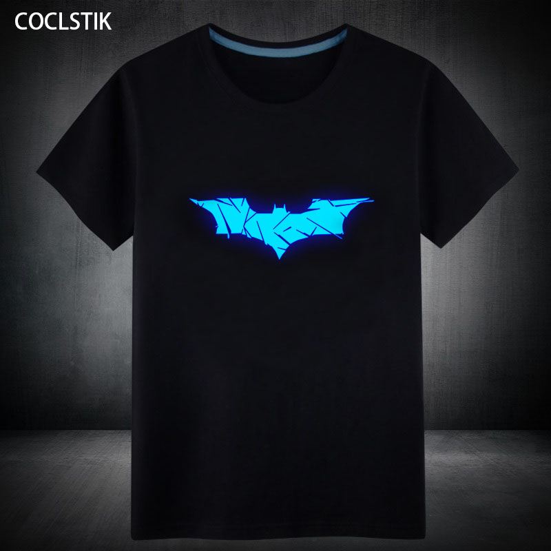 100% Cotton Childrens/Adult Summer Fluorescent Superman Super Hero Short T Shirt Male Men's Casual Luminous Kids T shirts 5XL