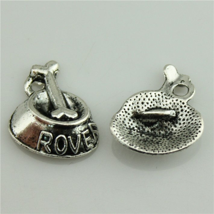 Free shipping 30Pcs Bone Dog dish Antique Silver size 21*17mm Zinc Alloy Charms Pendants for Jewelry Handmade DIY charm