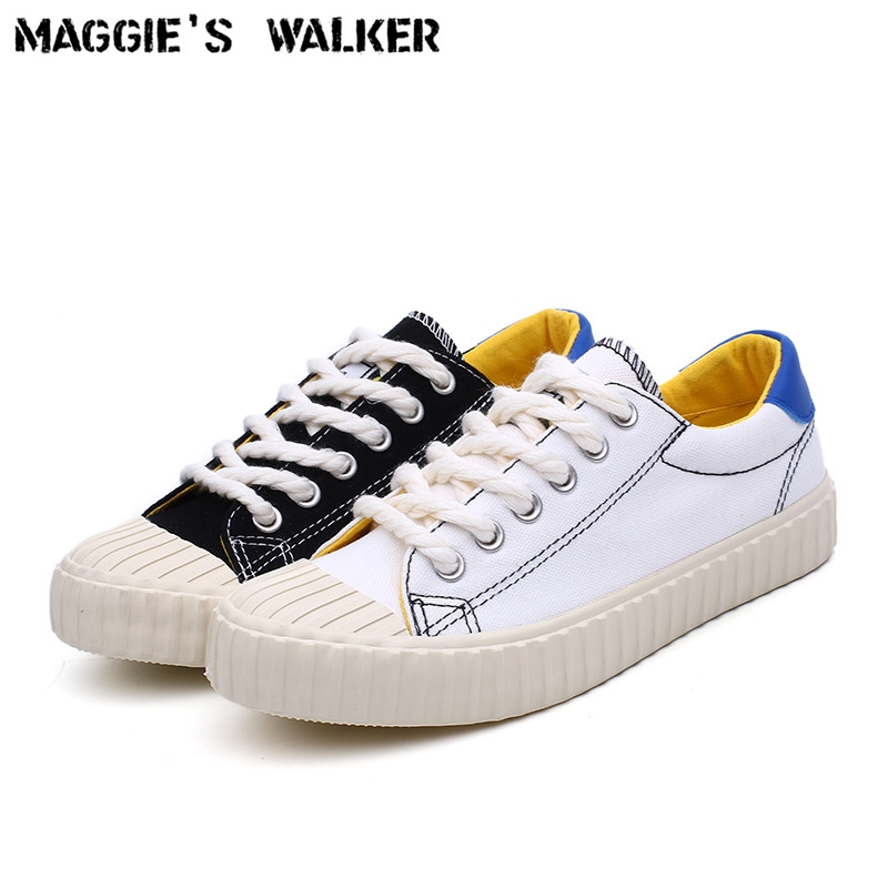Maggie's Walker 2018 New Arrival Women Fashion Lacing Canvas Casual Shoes Platform Canvas Walking Shoes White/Black Size 35~40 2017 free shipping new arrival traditional tavas women colors casual shoes breathable max size 36 42 black white superstar