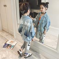Teenage denim coats spring autumn new fashion brand cotton jackets for children girls big baby outerwear Unisex clothes ws376