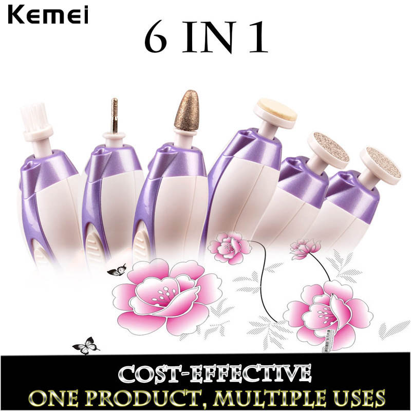 Kemei 6 in 1 Manicure Tools Nail Tool Professional Nail Pusher Electric Pedicure Manicure Set Nail Polishing Tool Kits 00 5pcs lot 6400401 professional pedicure tools