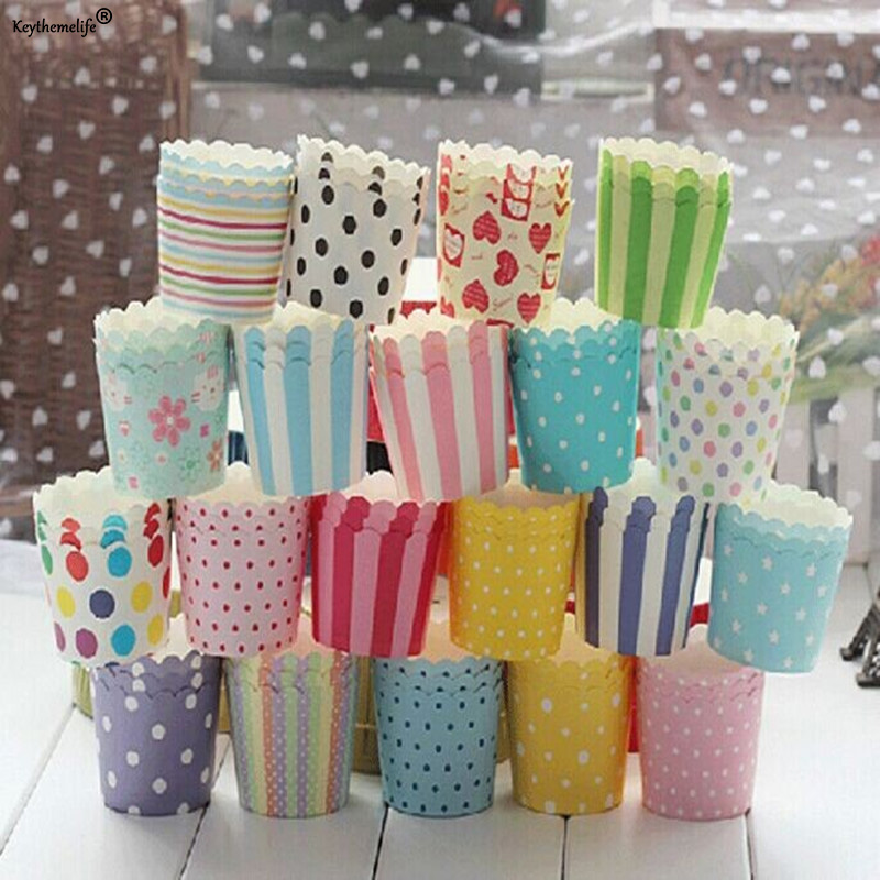 Two Size 50pcs/set Disposable Pretty Paper Cupcake Baking Cups Styling Cooking tools  Muffin Cake Liner Baking Cups D3
